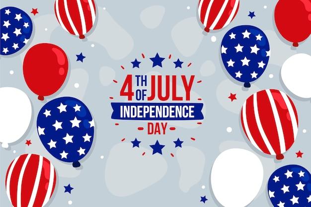 Fond de ballons de fête de l'indépendance du 4 juillet dessinés à la main