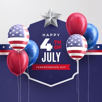 Fond de ballons de fête de l'indépendance du 4 juillet réaliste