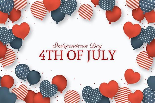 Fond de ballons de fête de l'indépendance avec indicateur