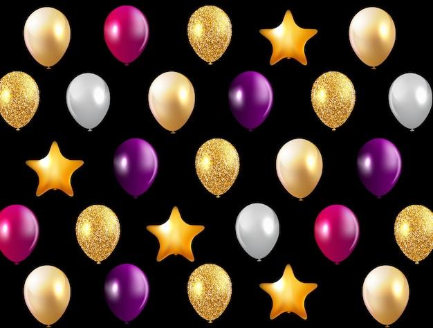 Fond de ballons joyeux anniversaire brillant