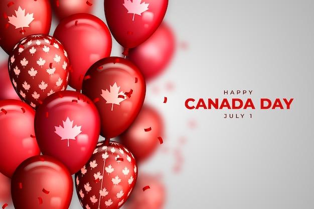 Fond de ballons réaliste de la fête du canada