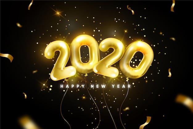 Fond de ballons réaliste nouvel an 2020