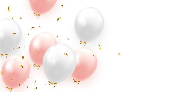 Fond avec des ballons réalistes festifs avec ruban. couleur rose et blanc, parsemée d'étincelles dorées et de confettis scintillants.