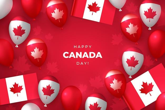 Fond de ballons réalistes de la fête du canada
