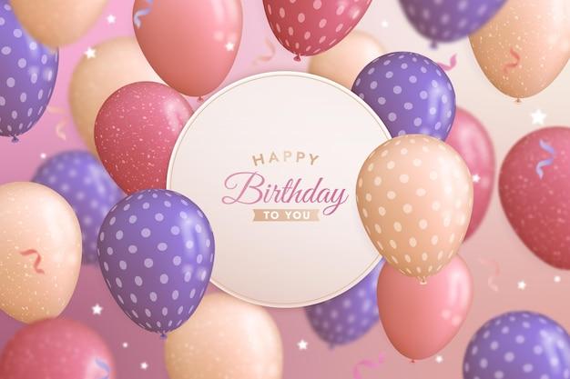 Fond de ballons réalistes joyeux anniversaire