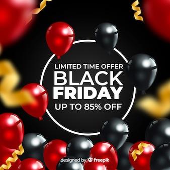 Fond de ballons réalistes de vente vendredi noir
