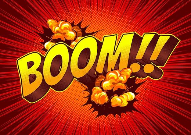 Fond de bande dessinée de bulle de discours de boom.