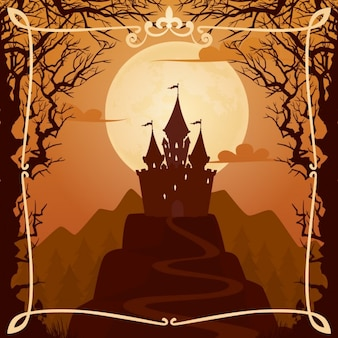 Fond de bande dessinée avec le château sur la colline