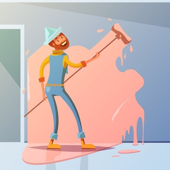 Fond de bande dessinée peintre en bâtiment