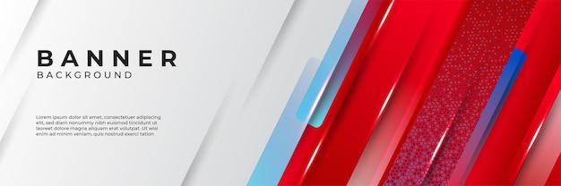 Fond de bannière abstrait rouge et bleu moderne. conception de bannière technologique avec des formes géométriques rouges et bleues
