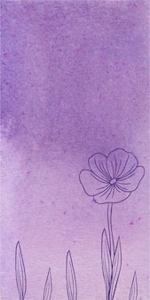 Fond de bannière aquarelle violet avec des fleurs dessinées à la main