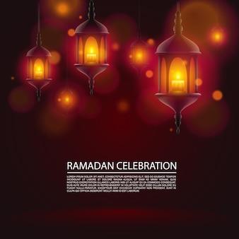 Fond de bannière d'art de célébration de ramadan. fond de vecteur