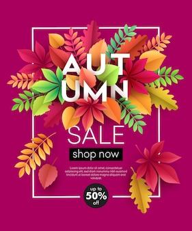 Fond de bannière d'automne avec des feuilles d'automne en papier. illustration vectorielle eps10