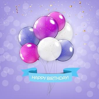 Fond de bannière de ballons joyeux anniversaire brillant couleur
