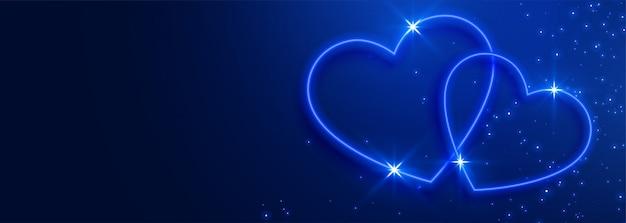 Fond de bannière de beaux coeurs bleus