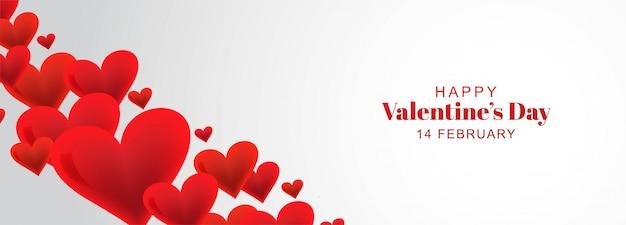 Fond de bannière de coeurs décoratifs carte happy valentines day
