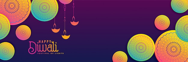 Fond de bannière créative diwali aux couleurs vives