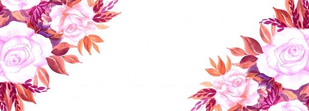 Fond de bannière créative de fleurs élégantes
