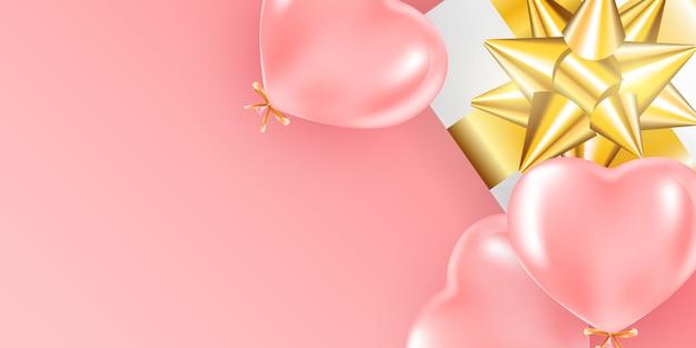 Fond de bannière festive avec des ballons à l'hélium rose