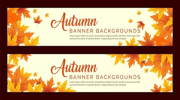 Fond de bannière de feuilles d'automne,
