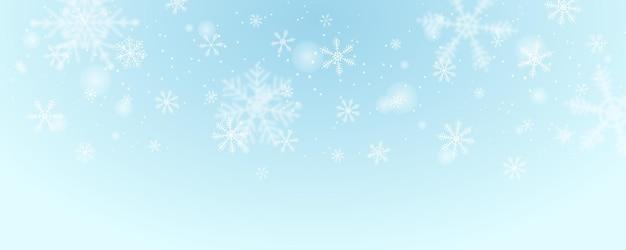 Fond de bannière de flocon de neige d'hiver avec neige, montagne, paysage et palmier.