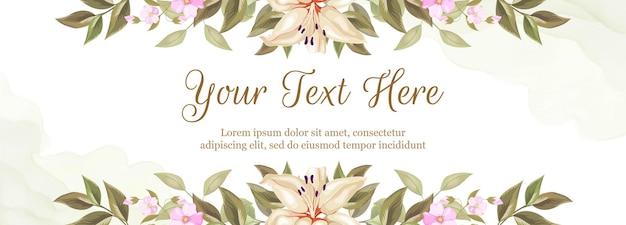 Fond de bannière floral pour la décoration de mariage. avec des fleurs de lys et de roses