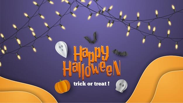 Fond de bannière happy halloween avec des nuages et des citrouilles dans un style coupé en papier. pleine lune dans le ciel, toile d'araignée, crâne, fantôme et chauves-souris volantes.