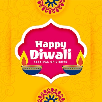 Fond de bannière joyeux diwali dans un style décoratif plat