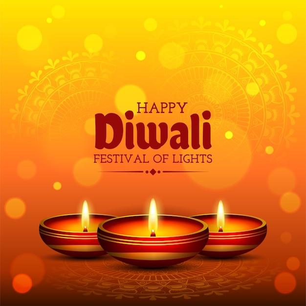 Fond de bannière de lampe à huile réaliste vecteur festival diwali