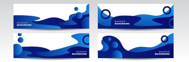 Fond de bannière large bleu marine moderne foncé avec motif de goutte liquide