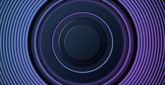 Fond de bannière de lumière bleue abstraite avec des formes géométriques d'anneaux étagés