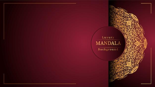 Fond de bannière de mandala de luxe créatif avec décoration arabesque dorée