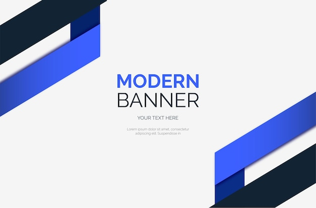 Fond de bannière moderne avec des formes bleues abstraites