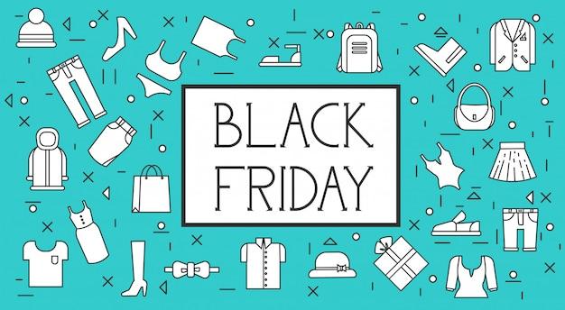 Fond de bannière noir vendredi vente avec motif de vêtements en ligne mince