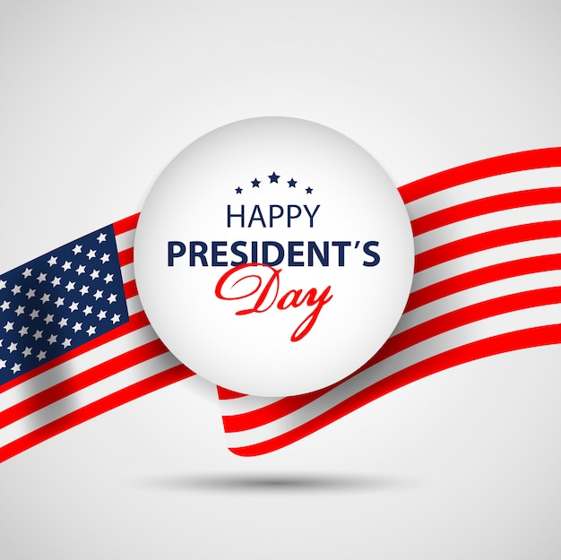 Fond de bannière de papier jour présidents avec drapeau américain.