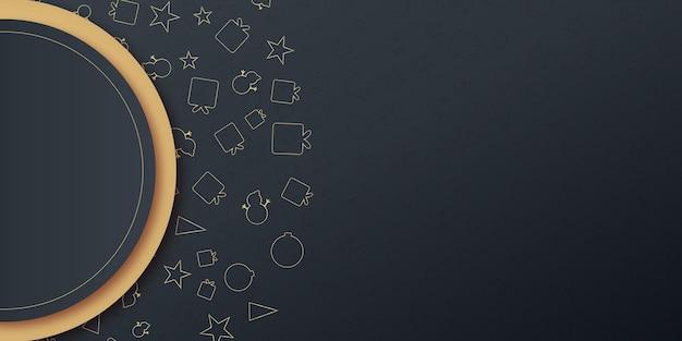 Fond de bannière de présentation de salutations de noël avec l'icône de cadeau d'arbre d'étoile et les étoiles sur la couleur noire...