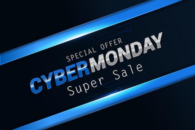 Fond de bannière simple vente moderne cyber lundi