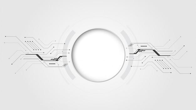 Fond de bannière de technologie abstraite gris blanc