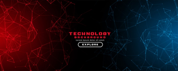 Fond de bannière de technologie abstraite avec des lumières rouges et bleues