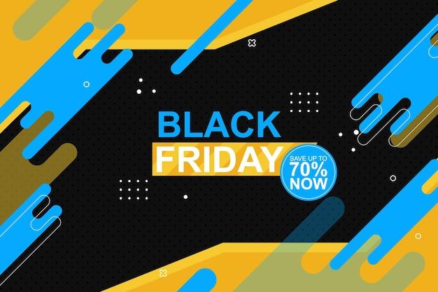 Fond de bannière vendredi noir avec une forme arrondie plate illustration vectorielle