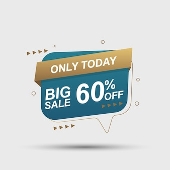 Fond de bannière de vente avec discours de bulle or et bleu illustration vectorielle