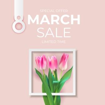 Fond de bannière de vente de mars