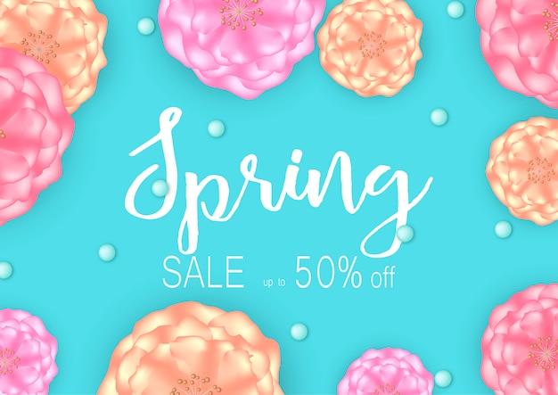 Fond de bannière de vente de printemps avec de belles fleurs.