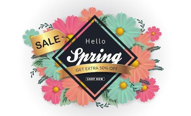 Fond de bannière de vente de printemps avec fleur.