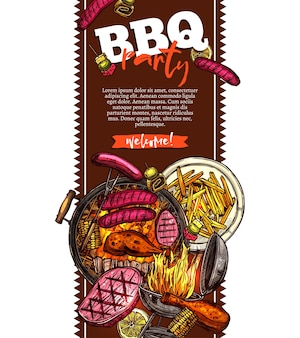Fond de barbecue et grill avec invitation de fête barbecue