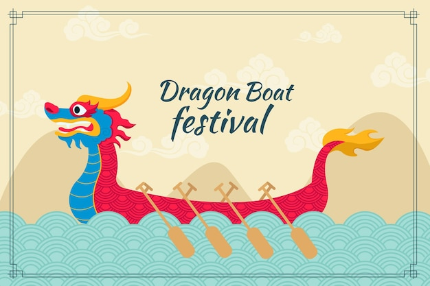 Fond de bateau dragon design plat