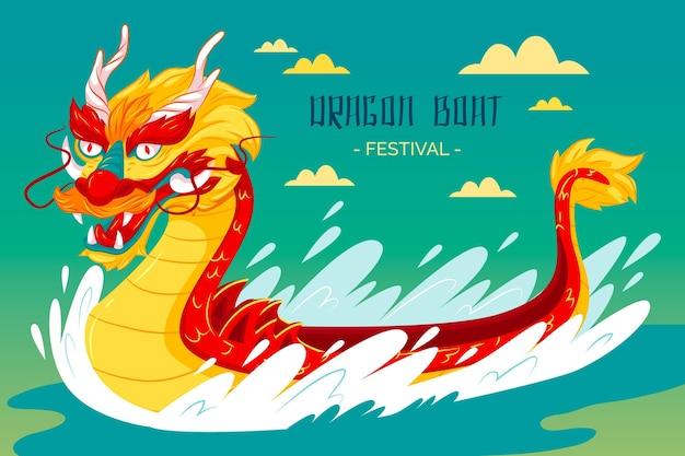 Fond de bateau dragon plat et vagues de tempête