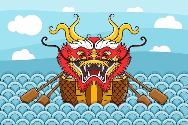 Fond avec bateau dragon