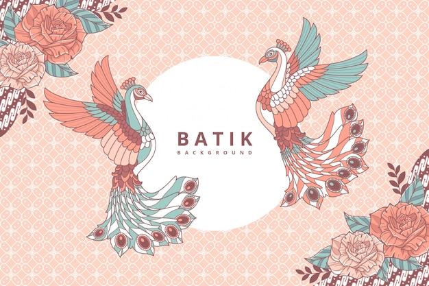 Fond de batik de paon