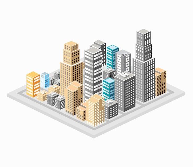 Fond des bâtiments de la ville, des gratte-ciels et des maisons.